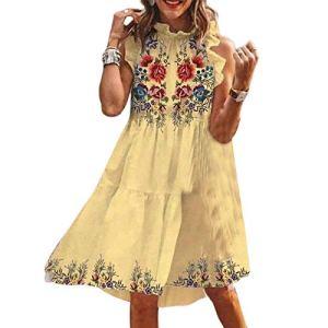 Robe d'été décontractée pour femme – Col rond – Sans manches – Motif floral brodé – Longueur genoux – Robe courte – Robe de plage – Robe de cocktail – Robe de plage – Taille M