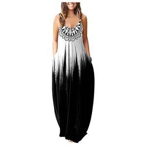 Robe d'été pour femme – Grandes tailles – Élégante – Col rond profond – Sexy – Robe de plage vintage – Couleur unie – Décontractée – Mini robe pour mollet – – L