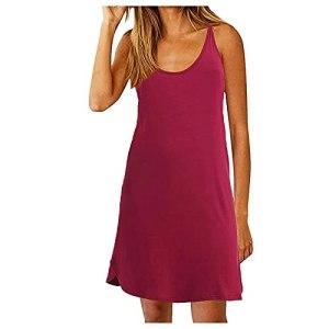Robe d'été pour femme sans manches – Col rond – Dos nu – Élégante – Longueur genoux – Uni – Décontractée – Évacuation – Robe de plage – Robe longue à bretelles – – L