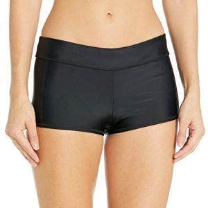 Speedo Women's Solid Boyshort Bikini Bottom, Black, Small