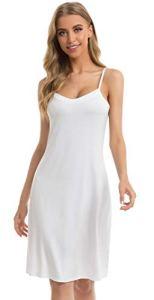 Vlazom Fond de Robe Femme Modal sous Robe Antistatique Gainant Jupons Mini Robe Blanc, S