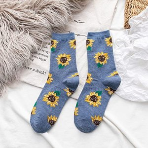 WHBGKJ Chaussettes Nouveaux Chaussettes Supports Femme Support Japonais Sauvages Sauvages Marée Chaussettes Femme Coréen Coton Personnalité Sunflower Flower Fleur Chaussettes Garder au Chaud