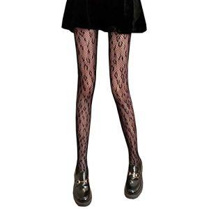 XueXian Collants résille motif léopard pour femme – noir – X-Small-Small