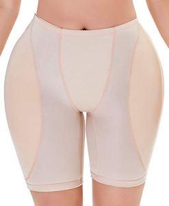 YINGKE Femme Culotte Sculptante Rembourrée Taille Haute Shapewear Remonte Fesses avec Coussinet Amovible, 1 Beige M
