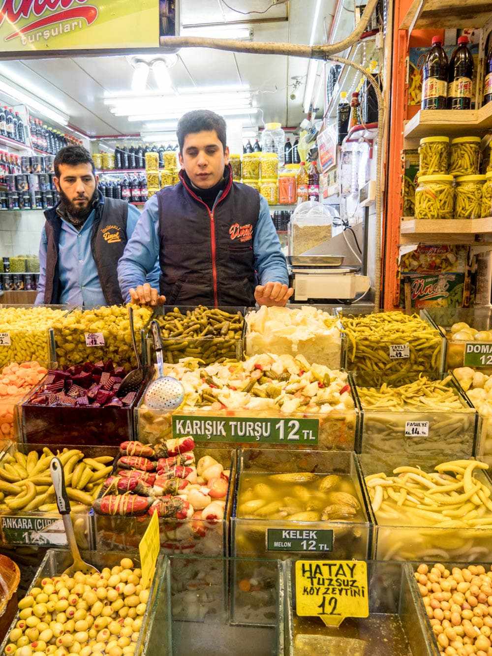 Pickles for sale at the Istanbul spice market (Misir carsisi) / A kitchen in Istanbul