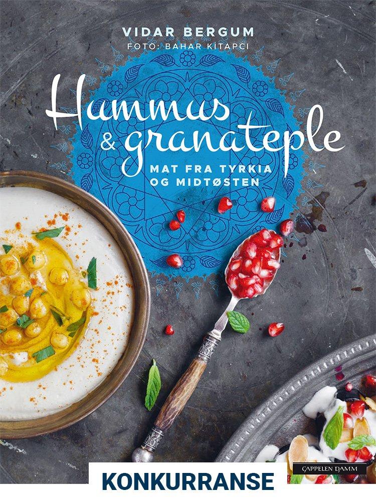 Konkurranse! Omslag av «Hummus & granateple» av Vidar Bergum