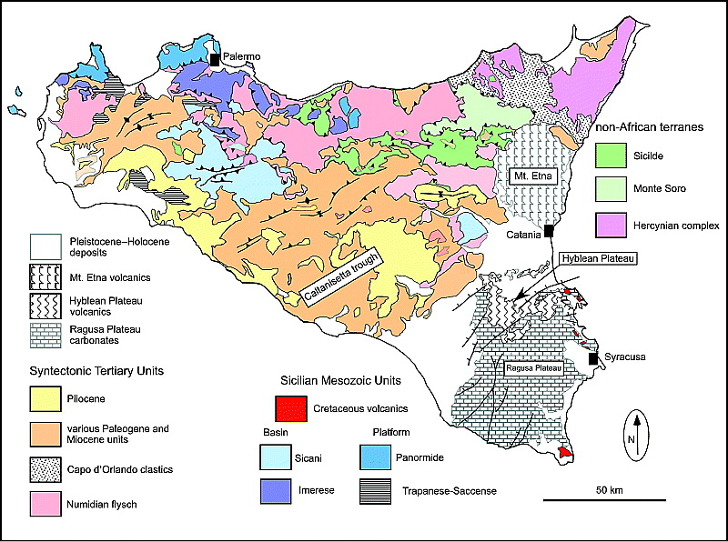 Geological map of Sicily