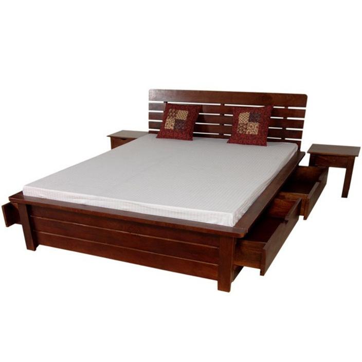 Letto etnico con cassettoni legno massello  mobili etnici