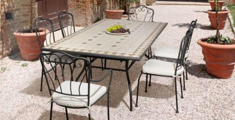 Tavolo ferro battuto mosaico Mobili giardino online