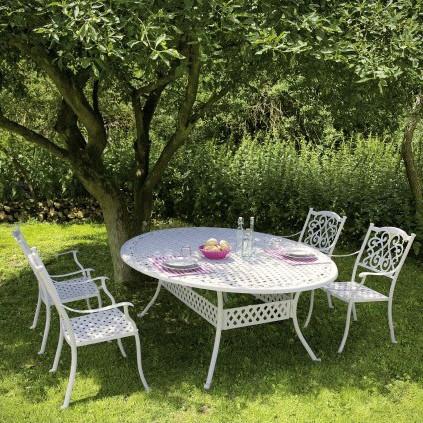 Tavolo rotondo in legno diametro cm 100 4 sedie in ferro e legno porta vivande. Set Tavolo 4 Sedie Provenzali Giardino Mobili Esterno