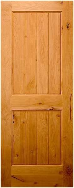 KA220 Knotty Alder 2 Panel V Groove Square Top Door 1 3
