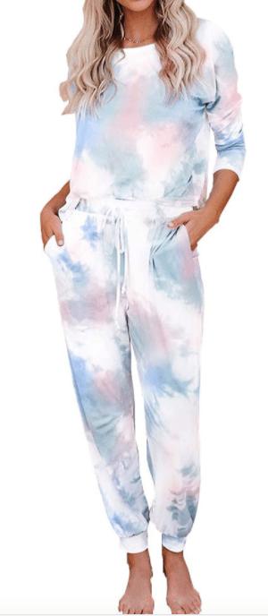 Minyue Women's Tie Dye Printed Short Sleeve Tops and Pants Long Pajamas Set