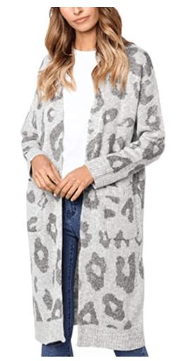 Angashion Long Sleeve Leopard Print Knitting Cardigan
