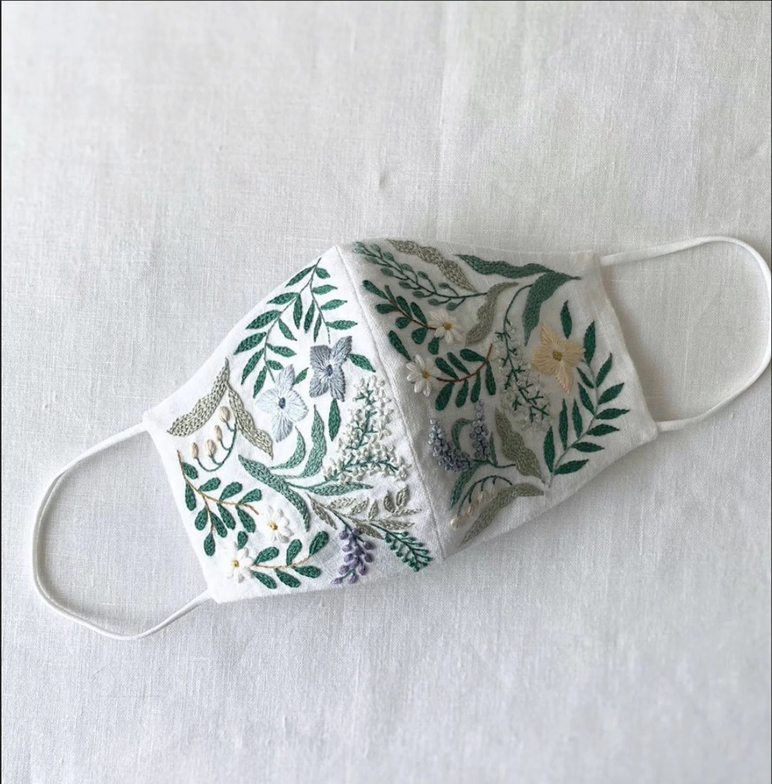 Ramy Delhi Shop Linen Face Mask with Embroidery