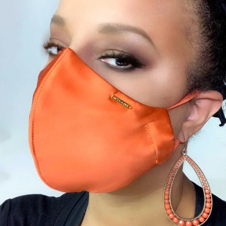 Braazi Atelier Burnt Orange Silk Satin Designer Face Mask