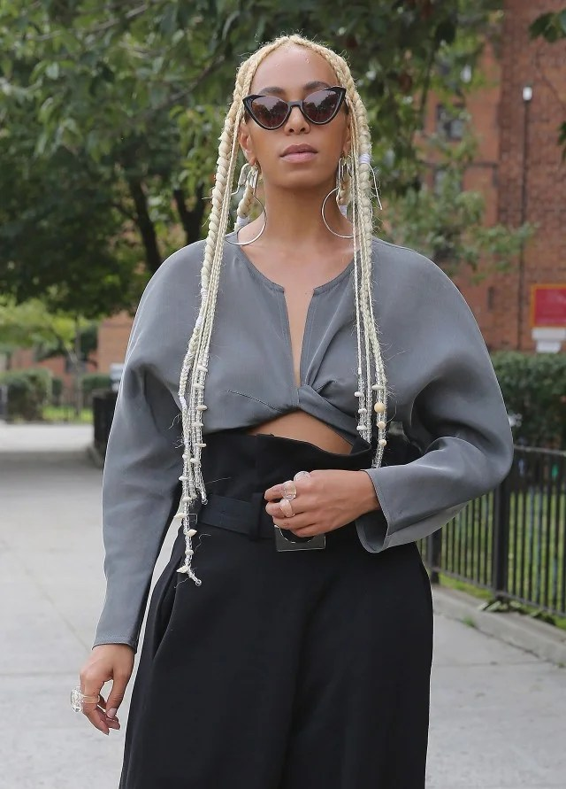 Solange Knowles Debuts Platinum Blonde Braids at New York