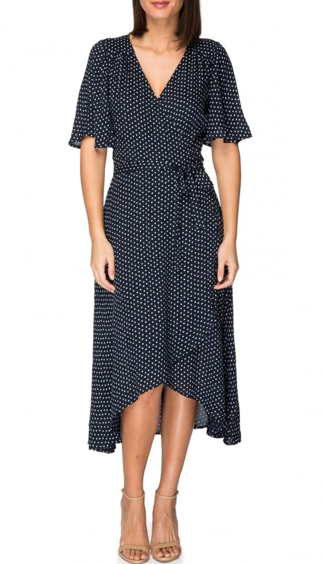 B Collection by Bobeau dotted blue dress