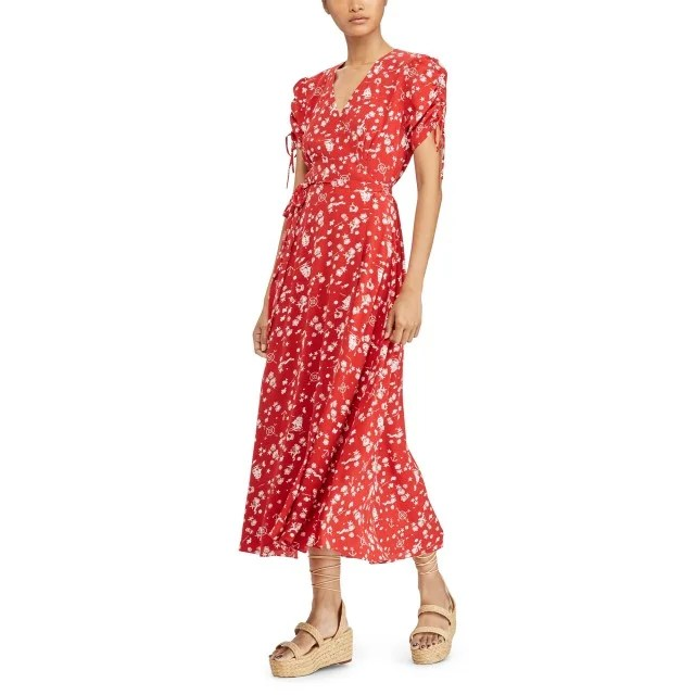 Polo Ralph Lauren red printed wrap dress