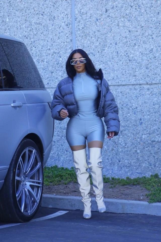 Kim Kardashian Struts Around in Multiple Spandex Looks for