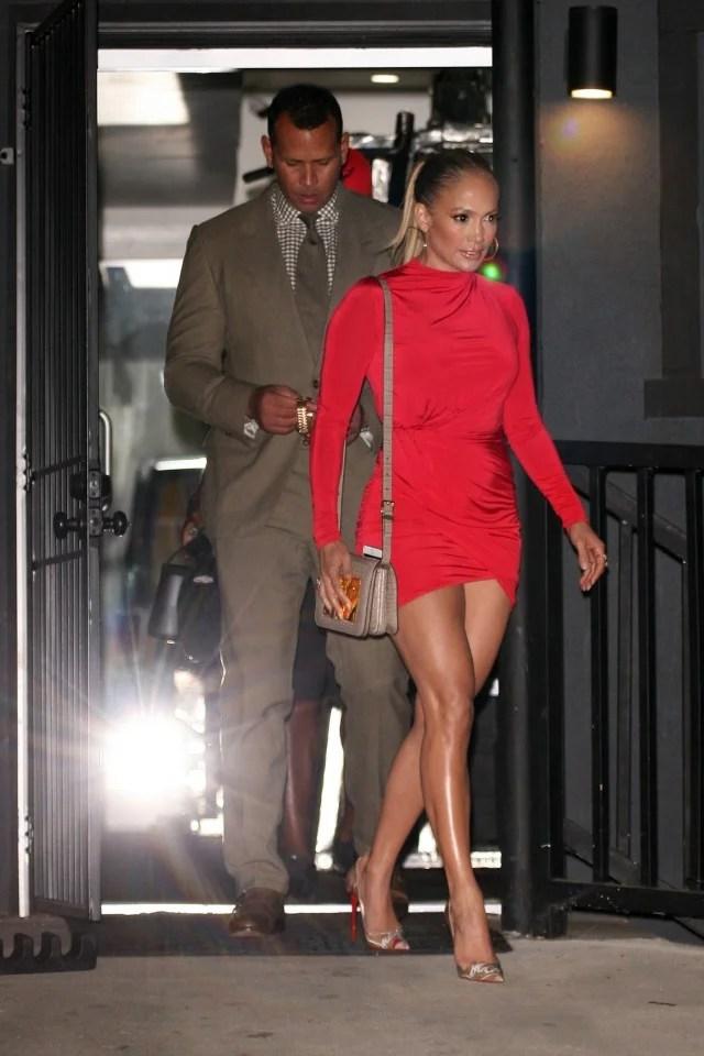 Jennifer Lopez Flaunts Toned Legs In Red MiniDress While