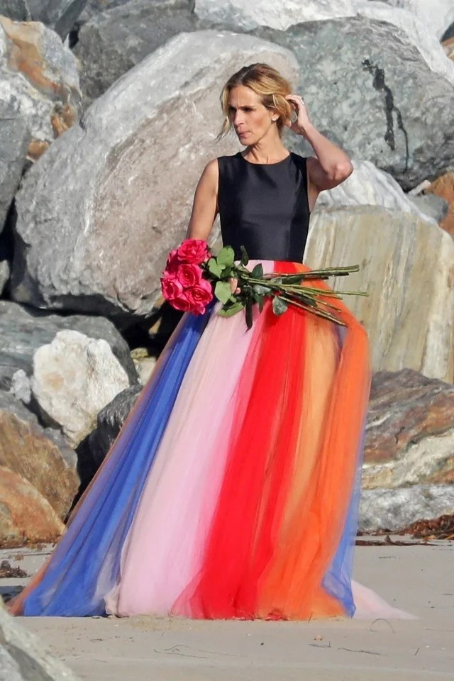 Julia Roberts Looks Radiant in Rainbow Gown at Malibu Photo Shoot  See the Pic  Entertainment