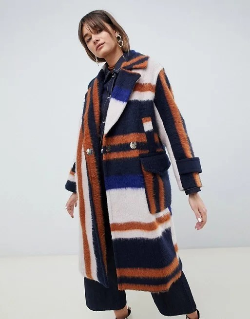 ASOS brushed striped coat