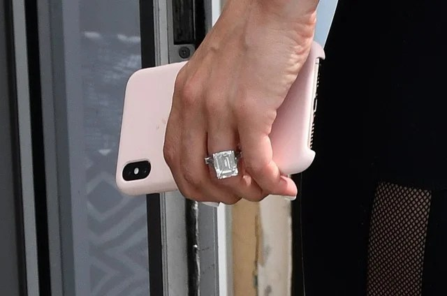 Jennifer Lopez Flaunts Engagement Ring on Her Way to the