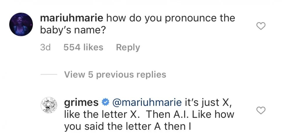 Grimes Explaining How You Say Baby Name