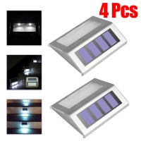 Solar Powered Stairway LED Lights Stainless Outdoor Garden ...