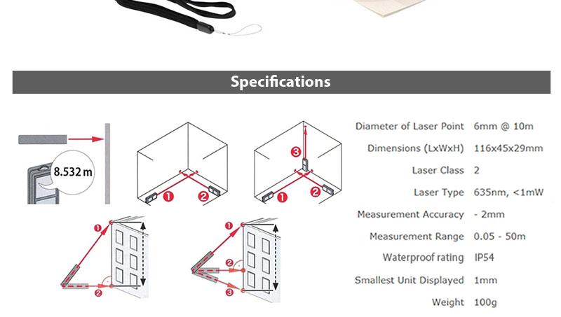 Makita LD050P Laser Distance Measurer Minimum And Maximum