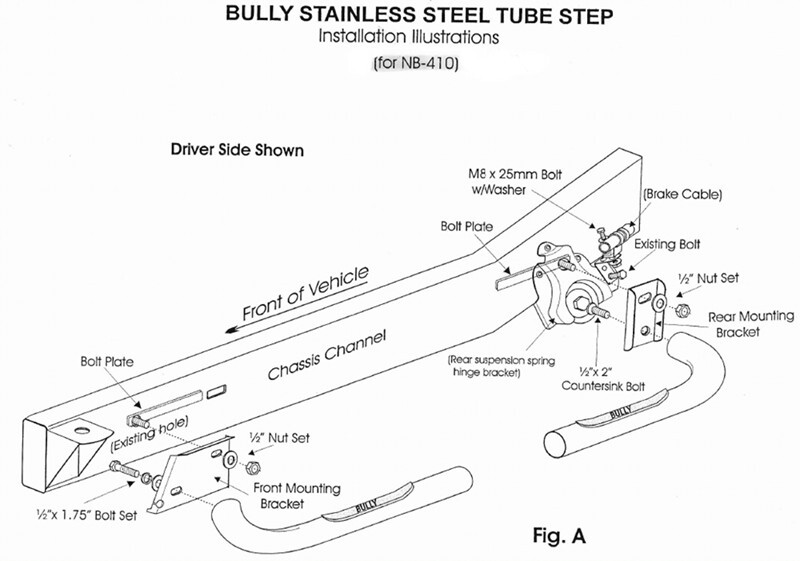 How do the Bully Stainless Steel Step Bars Mount on a