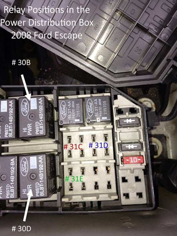 For 2008 Mercury Mariner As Well As 2008 Ford Escape Fuse Box Diagram