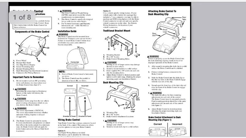 tekonsha primus iq proportional brake controller wiring diagram architecture section older generation cequent user manual   etrailer.com
