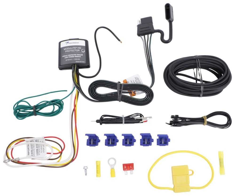 medium resolution of upgraded modulite vehicle wiring harness kit w 4 pole trailer connector and installation kit tekonsha wiring 119147kit