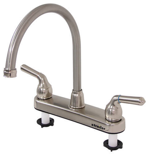 rv kitchen faucets inexpensive flooring etrailer com faucet dual teacup handle satin nickel