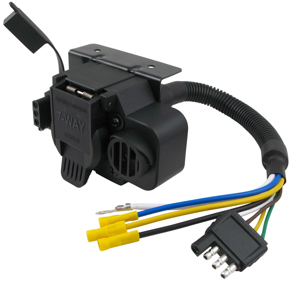 hight resolution of curt trailer connector adapter with backup alarm 4 way to 7 way rv trailer wiring harness 7 pin to 4 flat