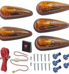 clearance light kit teardrop shape amber qty 5 optronics vehicle lights cb 15ak [ 1000 x 948 Pixel ]