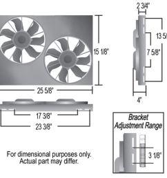 derale 25 5 8 dual high output electric radiator fan w aluminum shroud 4 000 cfm derale radiator fans d16825 [ 1000 x 937 Pixel ]