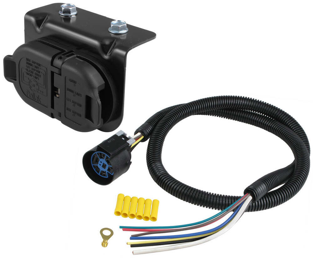 hight resolution of 7 pole and 4 pole trailer connector sockets w mounting bracket and wiring vehicle end hopkins custom fit vehicle wiring hm40975 11998