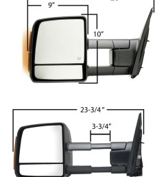 k source custom extendable towing mirror electric heat w turn signal textured black passenger k source replacement mirrors ks70103t [ 812 x 1000 Pixel ]