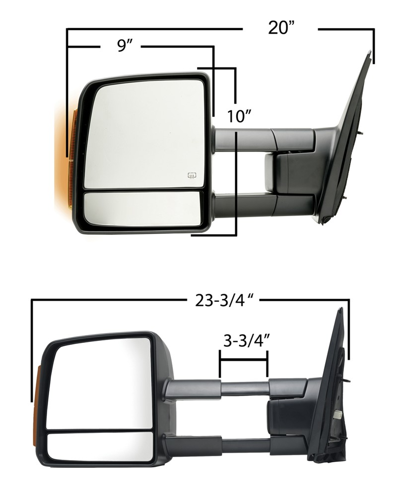hight resolution of k source custom extendable towing mirror electric heat w turn signal textured black passenger k source replacement mirrors ks70103t