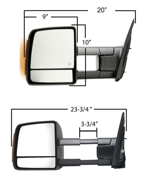 small resolution of k source custom extendable towing mirror electric heat w turn signal textured black passenger k source replacement mirrors ks70103t