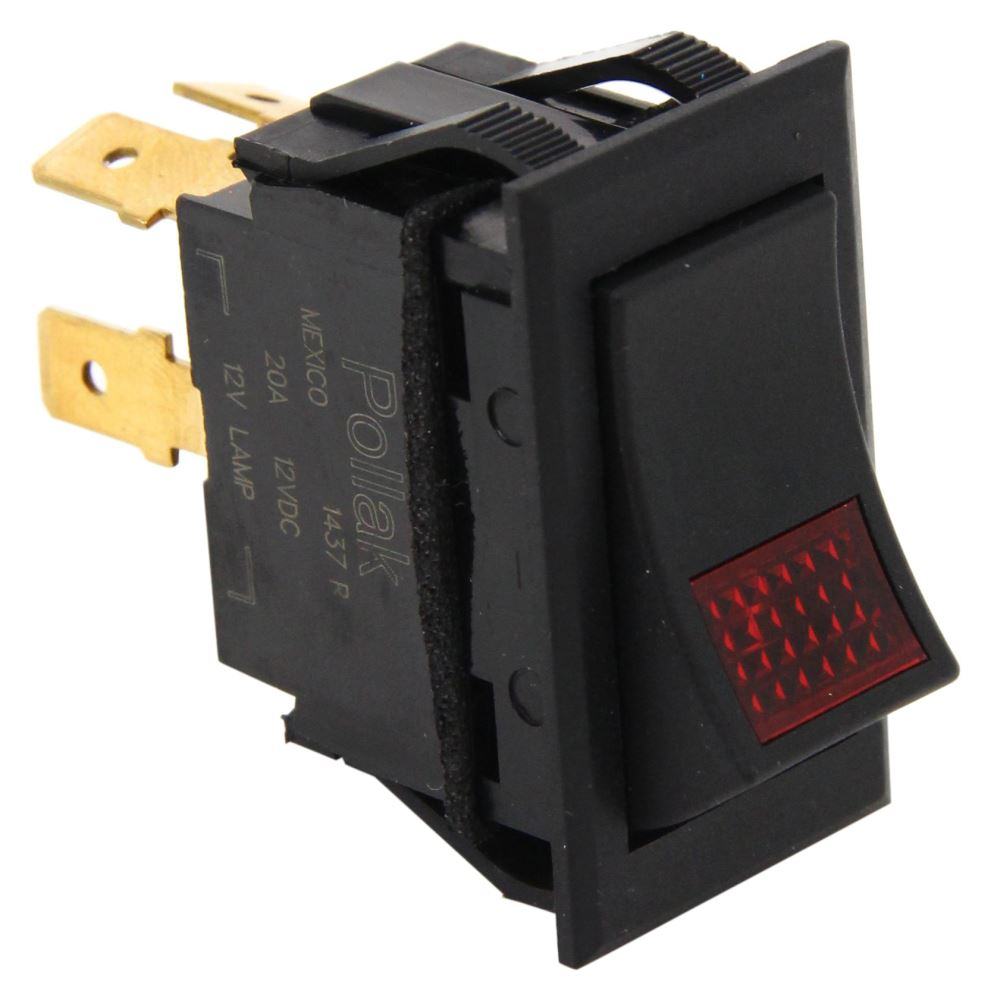 hight resolution of universal design rocker switch spst on off 12 volt 20 amp 4 blade red pilot light pollak accessories and parts pk34310