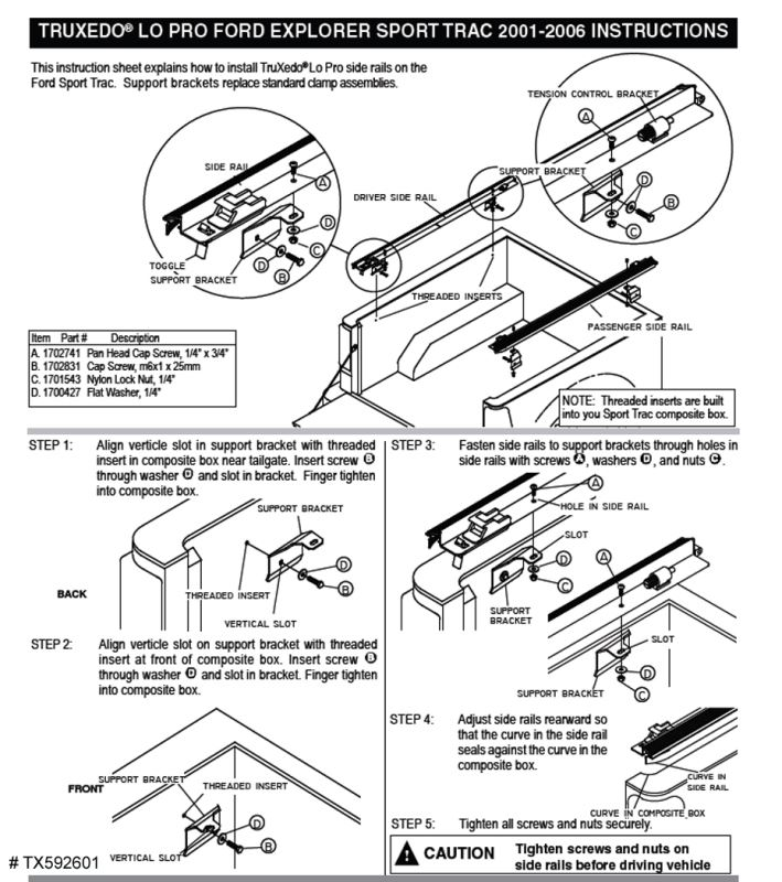 Installation Instructions TruXedo Lo Pro QT Roll-up