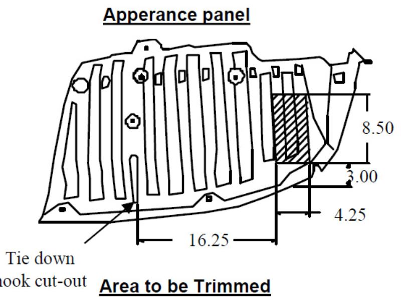 Cut Out Dimensions for Appearance Panel for Hitch Install