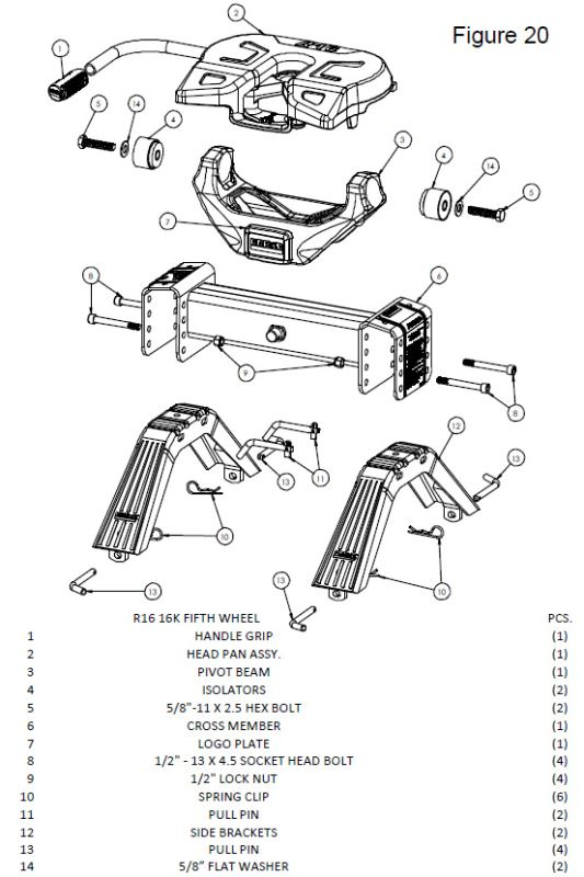 Assembly Diagram for the Reese Titan 20k Fifth Wheel Hitch