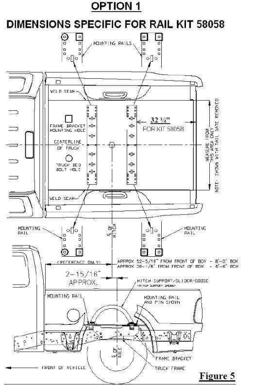 Location of 5th Wheel Hitch Rails on a 2001 Ford F-250