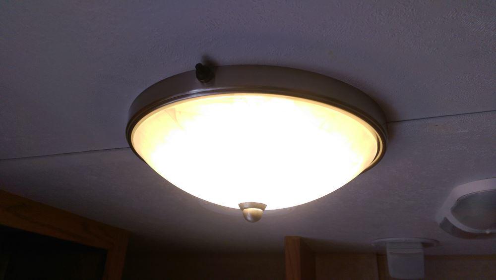 Gustafson RV Ceiling Light w Glass Shade  Satin Nickel