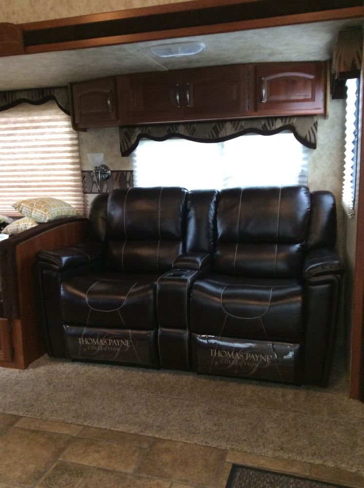 dual reclining rv sofa bright thomas payne w/ center console ...