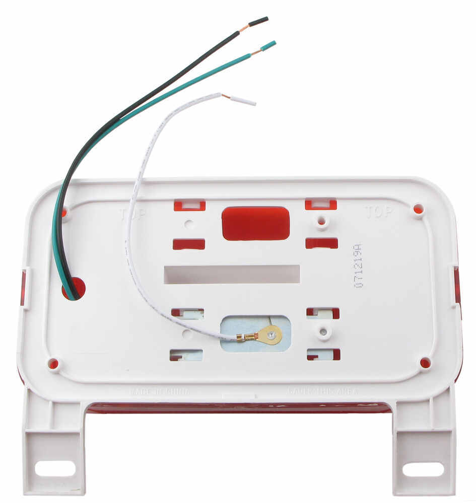 hight resolution of rv tail light stop tail turn license plate rectangle red lens driver side white base optronics trailer lights rvst51